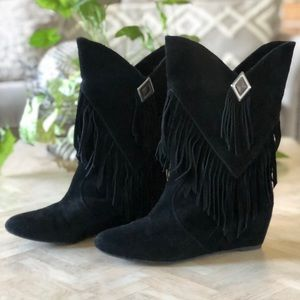 Obsession Rules Hopey Black Suede Fringe Boots 8